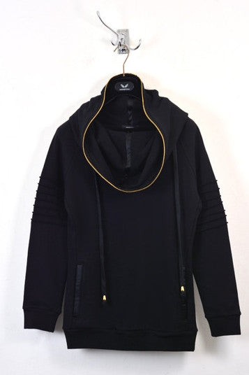 UNCONDITIONAL Black funnel neck hoodie with gold edge zip and bicep rib detailing