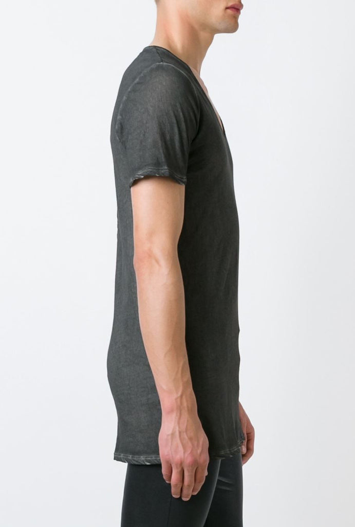 UNCONDITIONAL Military cold dyed scoop neck fine jersey T-shirt with centre back French seam.