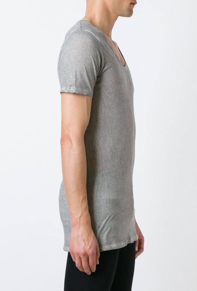 UNCONDITIONAL Desert Sand cold dyed scoop neck fine jersey T-shirt with centre back French seam.