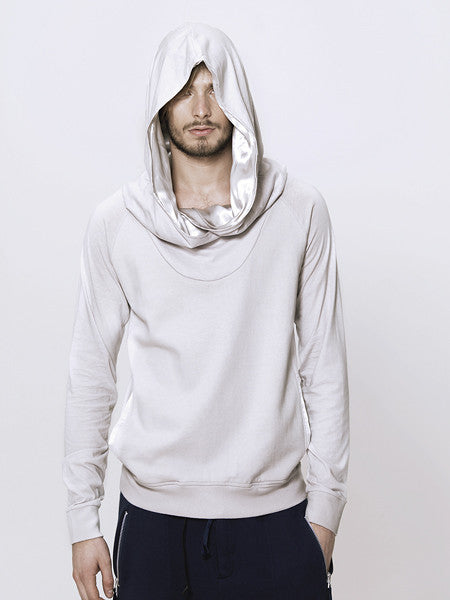 UNCONDITIONAL Flannel sweat shirting raglan hoodie with crossover hood.