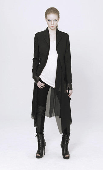 UNCONDITIONAL AW17 long sleeved cutaway jacket with silk georgette inner chiffon drape