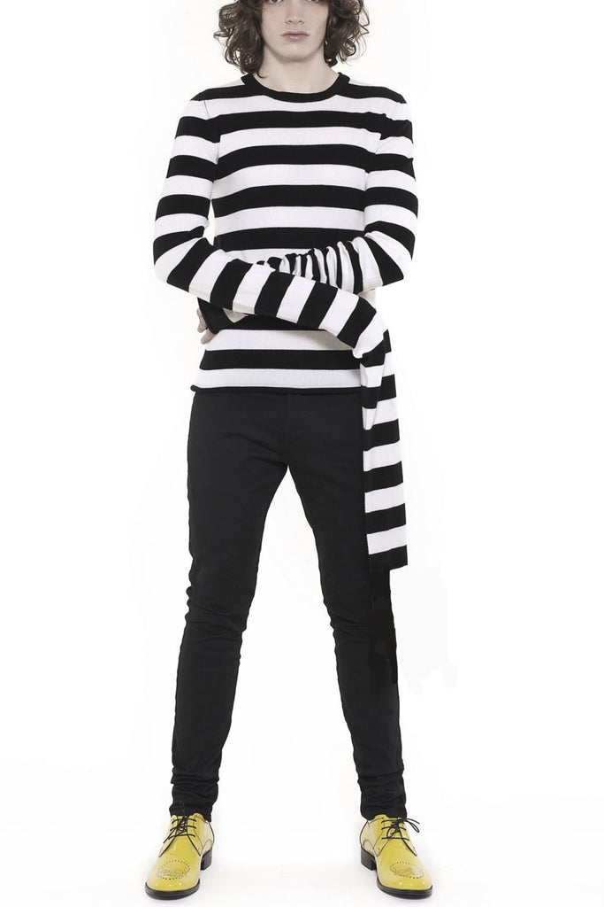 UNCONDITIONAL BLACK & WHITE MERINO STRIPED X-LONG SLEEVED SWEATER