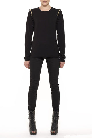 UNCONDITIONAL AW18 Black foiled, leather look, drop crotch shorts with double zips pockets