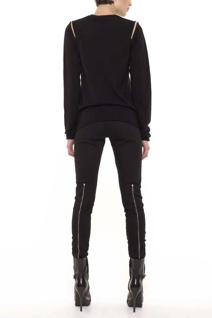 UNCONDITIONAL BLACK shoulder ZIP crew neck sweater
