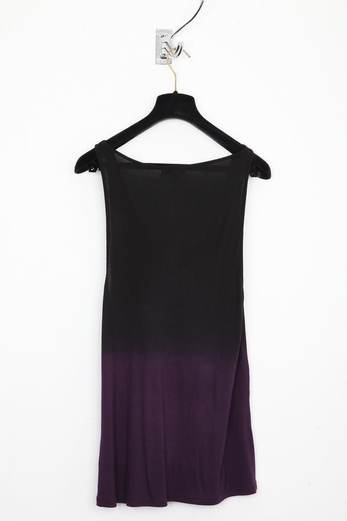 UNCONDITIONAL Dark purple and black dip dye rayon vest.