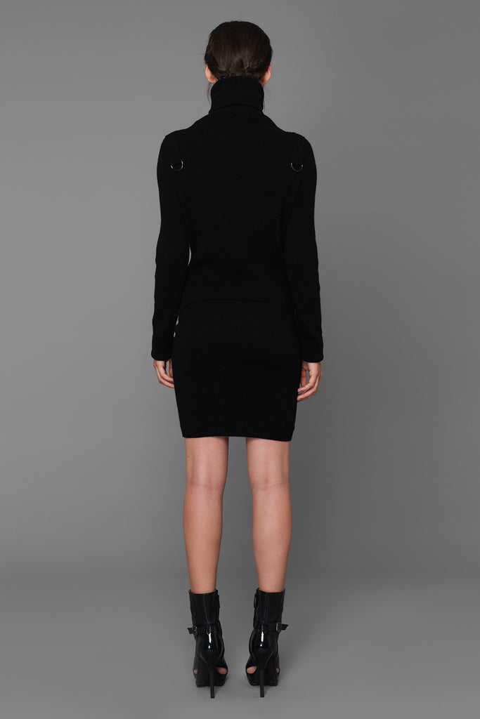 UNCONDITIONAL long sleeved black polo-neck knitted dress