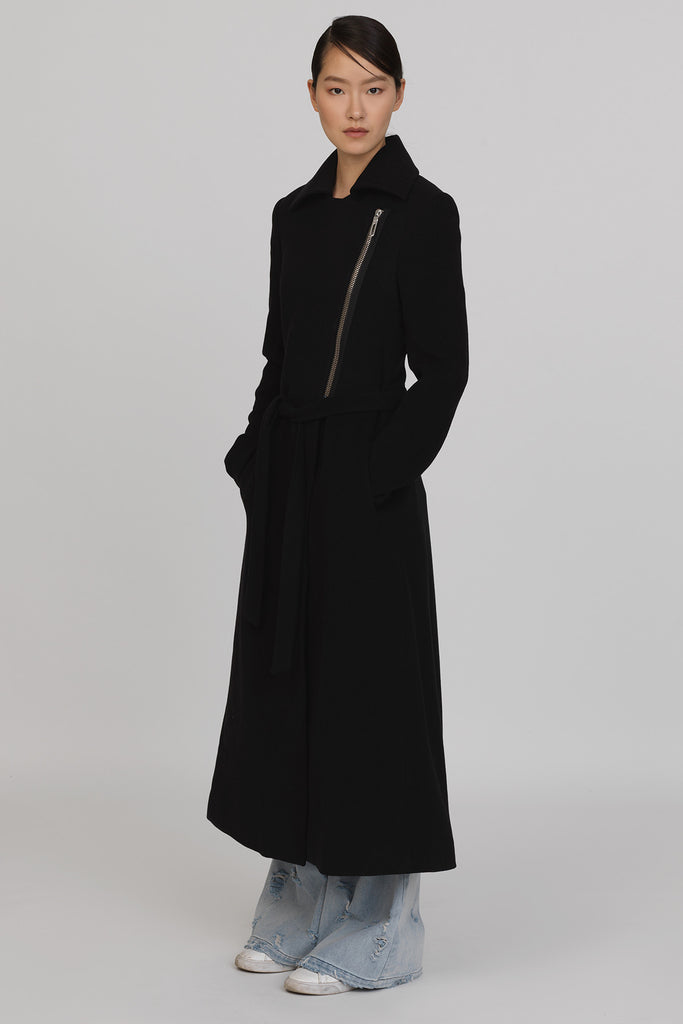 UNCONDITIONAL Black pure wool  military style ankle length coat with heavy chrome zip