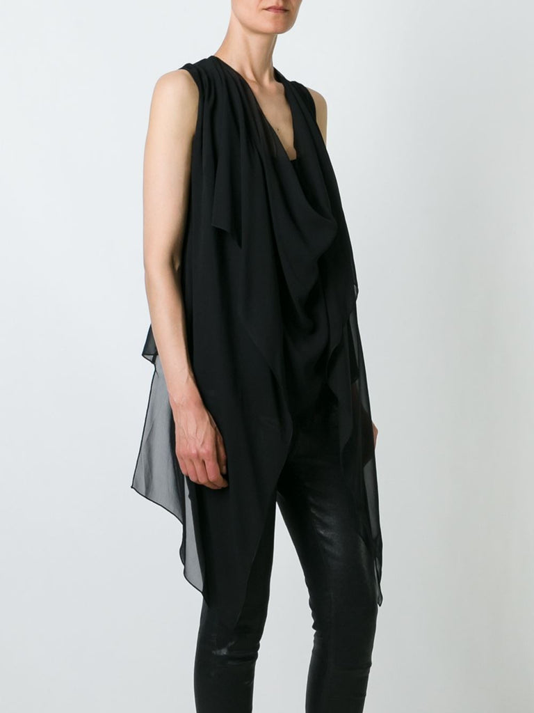 UNCONDITIONAL SS17 Black signature draped sheer silk top with built in waistcoat drapes