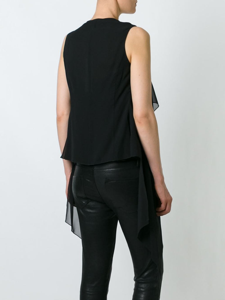 UNCONDITIONAL Black signature draped sheer silk top with built in waistcoat drapes