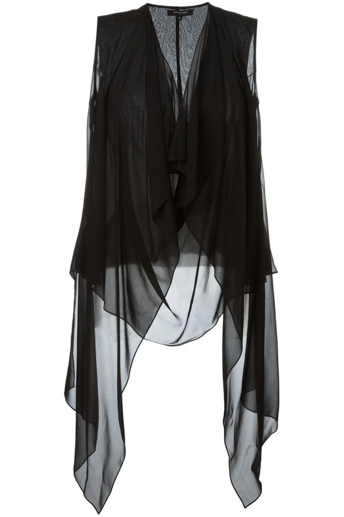 UNCONDITIONAL SS18 Black signature draped sheer silk top with built in waistcoat drapes