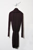 UNCONDITIONAL SS19 Black long sleeved drape front dress with self belt