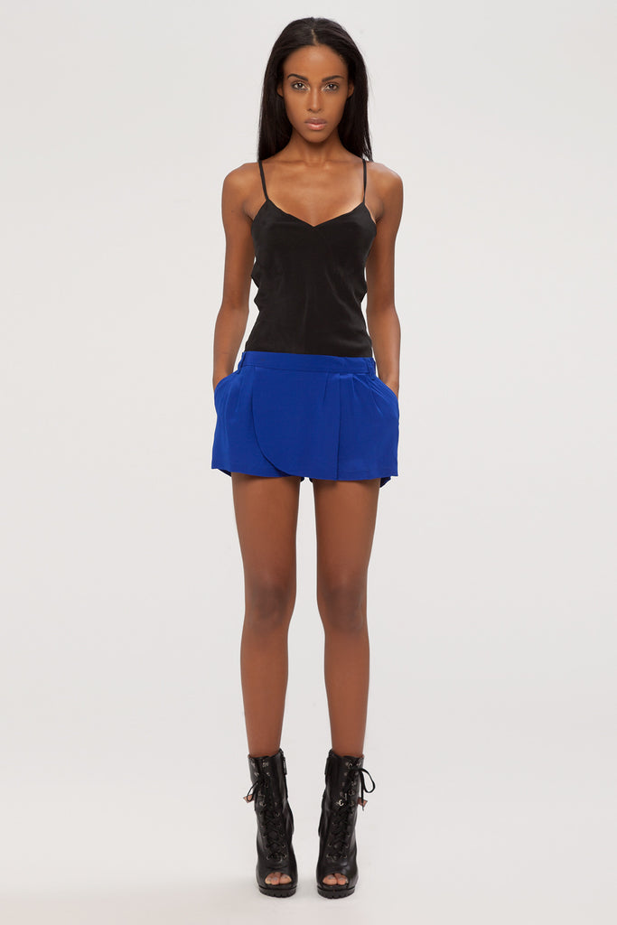 UNCONDITIONAL signature navy silk mini skorts.