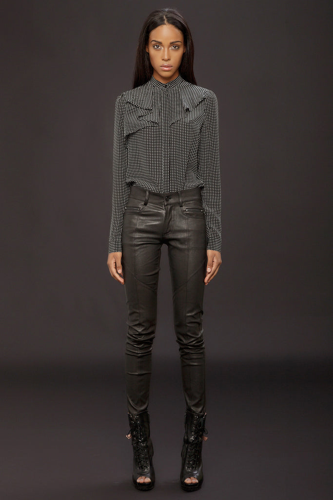 UNCONDITIONAL ladies black stretch leather patchwork skinny trousers.
