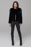 UNCONDITIONAL BLACK REX RABBIT JACKET, WITH STRUCTURED BEAVER SHOULDERS