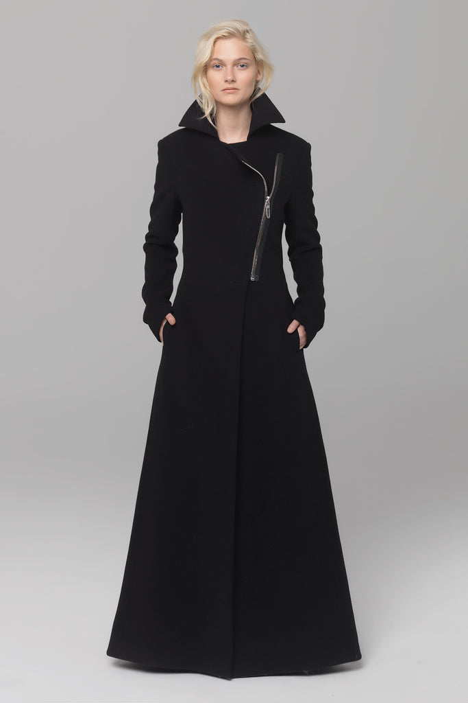 UNCONDITIONAL AW18 Black biker maxi belted style coat with heavy chrome zip