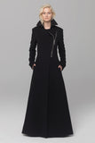 UNCONDITIONAL black pure new wool classic maxi belted military style maxi coat with heavy chrome zip