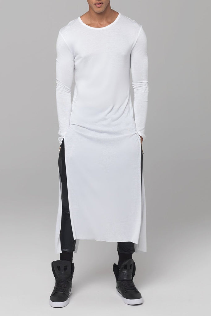 UNCONDITIONAL White full length long-sleeved tail T-shirt - code t400