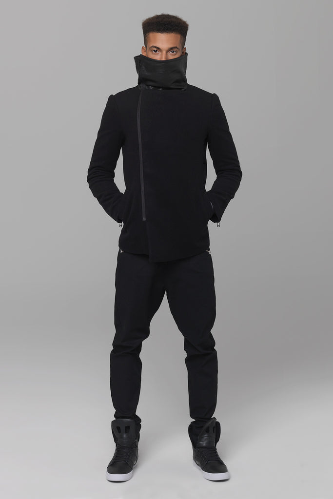 UNCONDITIONAL Funnel neck coat with leather panelling on outer funnel