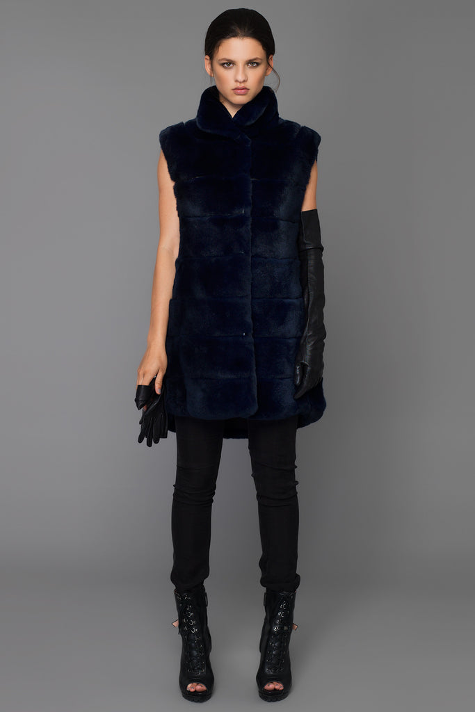UNCONDITIONAL MIDNIGHT BLUE REX RABBIT SLEEVELESS FUR COAT.
