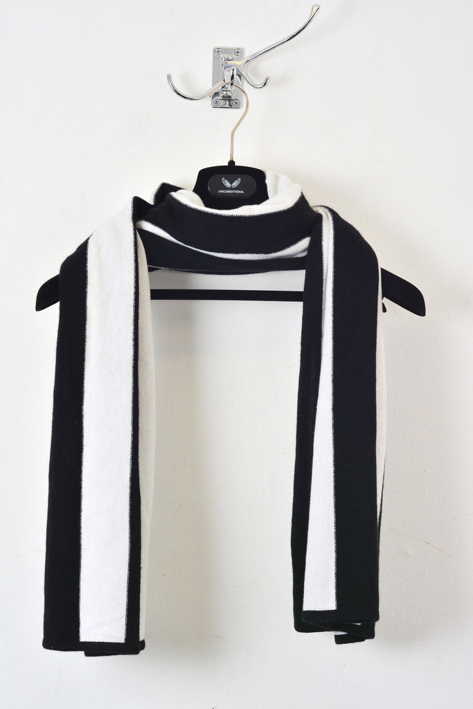 UNCONDITIONAL AW18 BLACK | OFF WHITE STRIPED CASHMERE SCARF