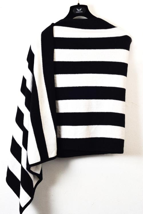 UNCONDITIONAL AW17 BLACK AND OFF WHITE STRIPED PURE CASHMERE SCARF