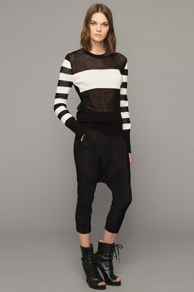 UNCONDITIONAL Chalk white / black cashmere-cotton solid-mesh striped sweater