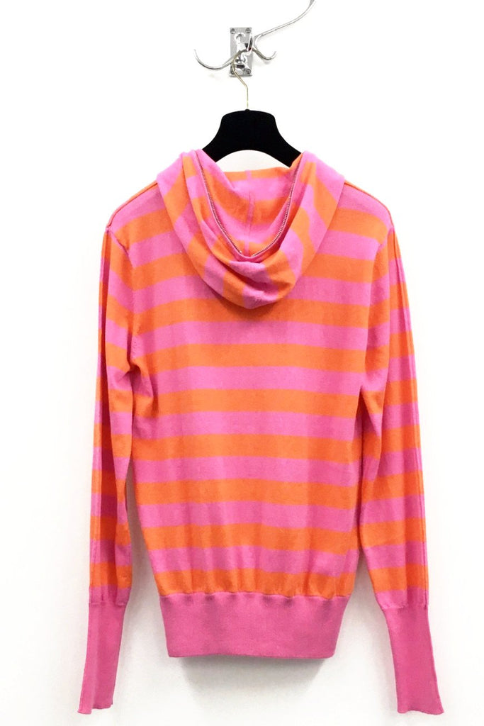 UNCONDITIONAL pink and orange striped full zip up hoodie.