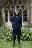 UNCONDITIONAL Dark Military double layered long biker peacoat.