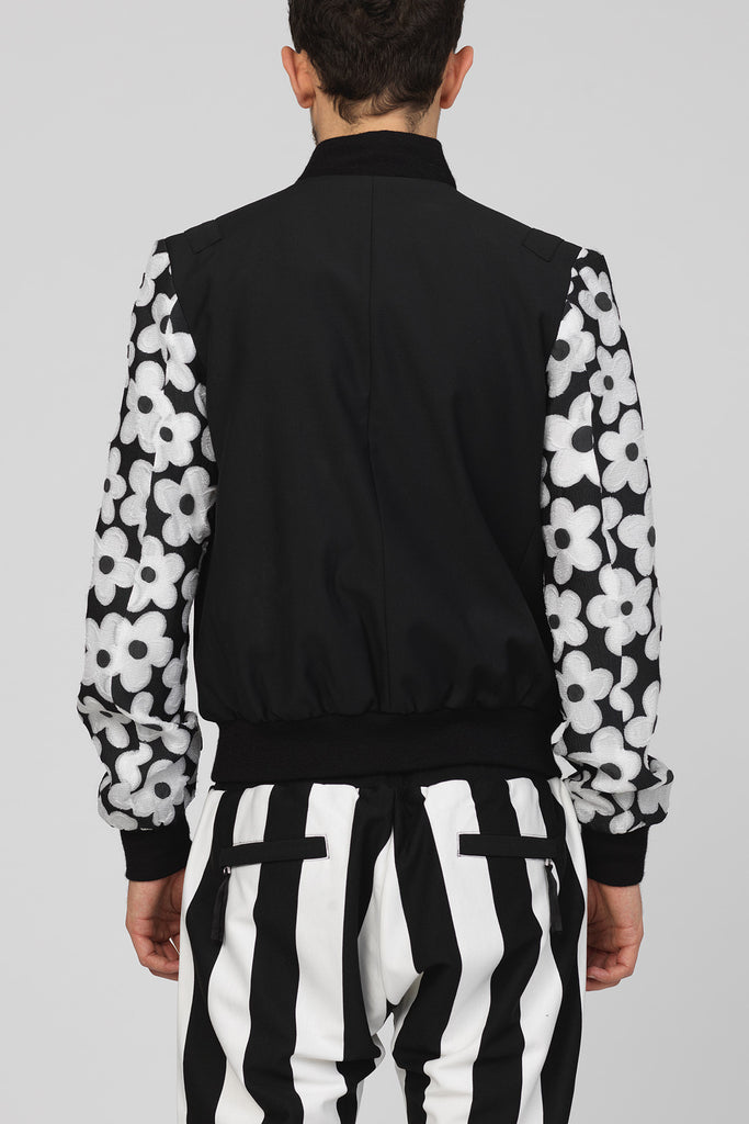UNCONDITIONAL Black wool bomber jacket with black and white daisy contrast sleeves