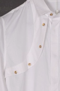 UNCONDITIONAL white long sleeve harness shirt with gilt buttons