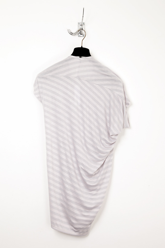 UNCONDITIONAL signature asymetric drape T-shirt in striped rayon mix.