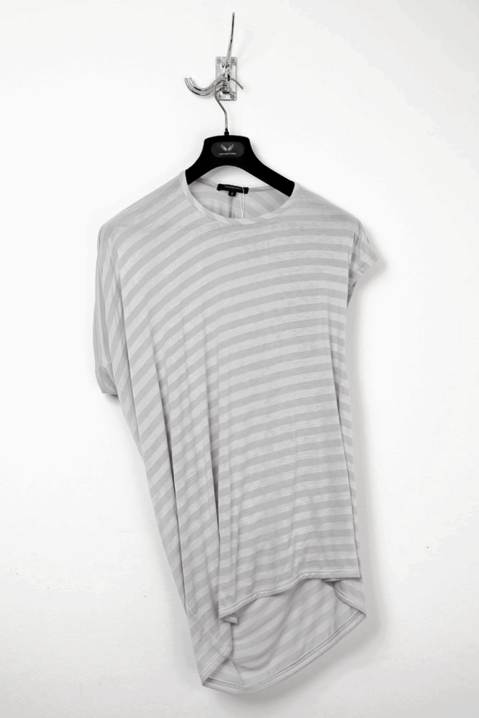 UNCONDITIONAL silver and soft grey striped asymmetric drape T-shirt.