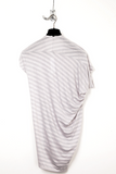 UNCONDITIONAL Signature silver and soft grey striped asymmetric drape T-shirt.