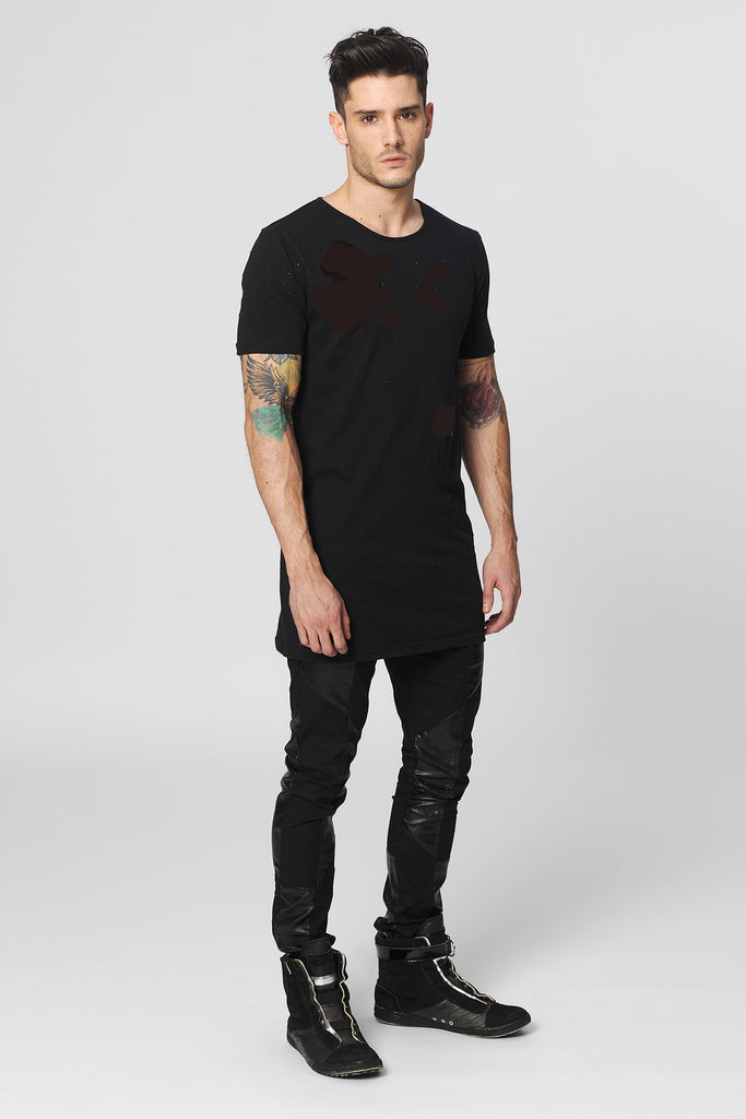 UNCONDITIONAL Black signature slim fit crew neck T with external centre back seam.