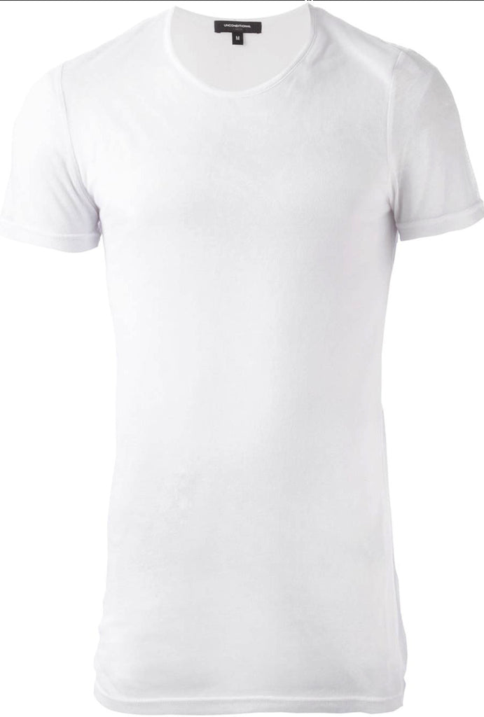 UNCONDITIONAL White signature slim fit crew neck T with external centre back seam.