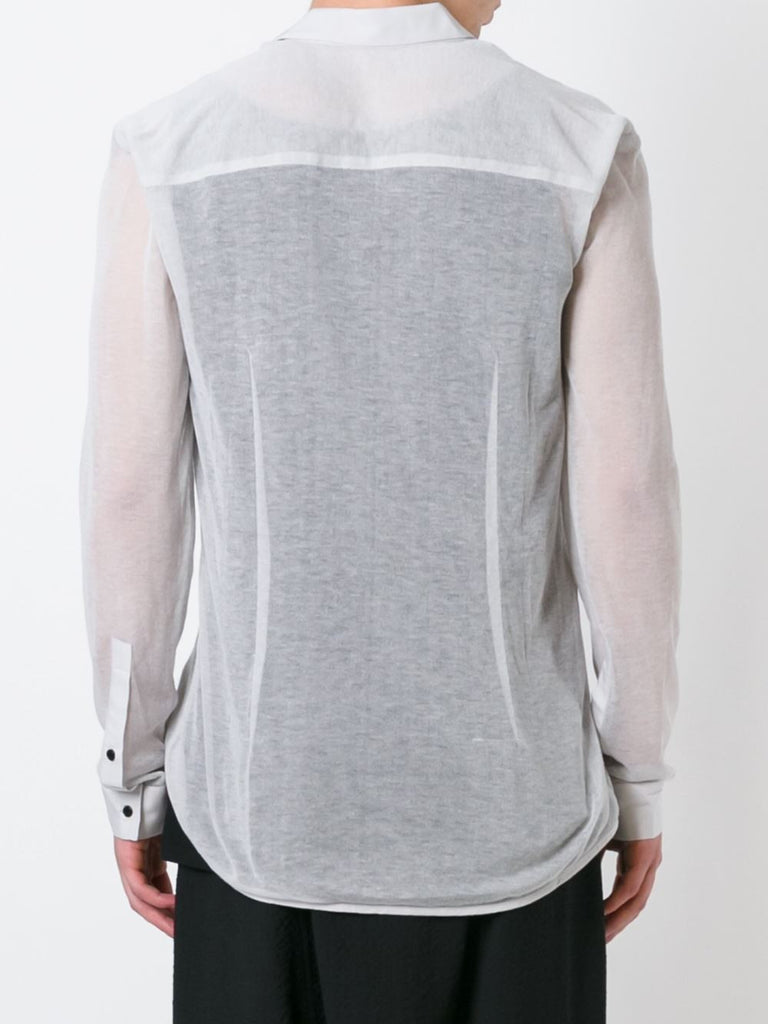 UNCONDITIONAL Dirty White  cotton mesh shirt with shirting detailing.