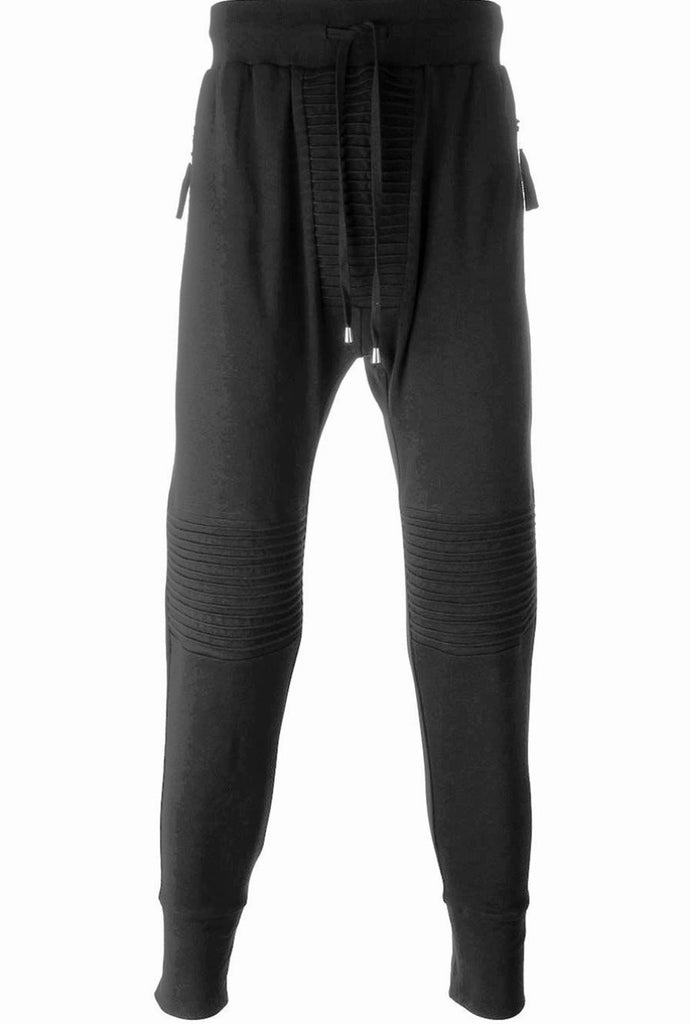 UNCONDITIONAL AW18 Black slim jersey trousers - piped knee + crotch detailing