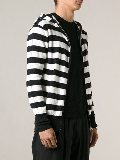 UNCONDITIONAL Black and Pink striped full zip up cotton knit hoodie.