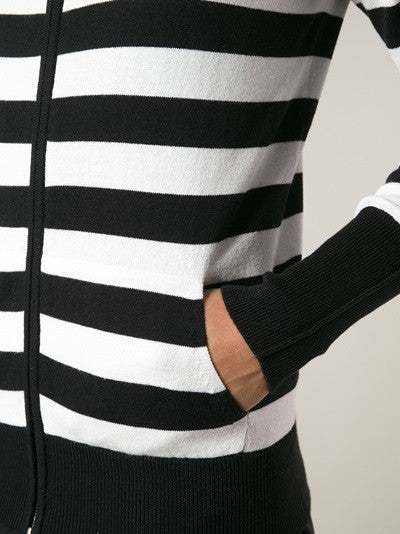 UNCONDITIONAL Black and Coffee striped full zip up cotton knit hoodie.