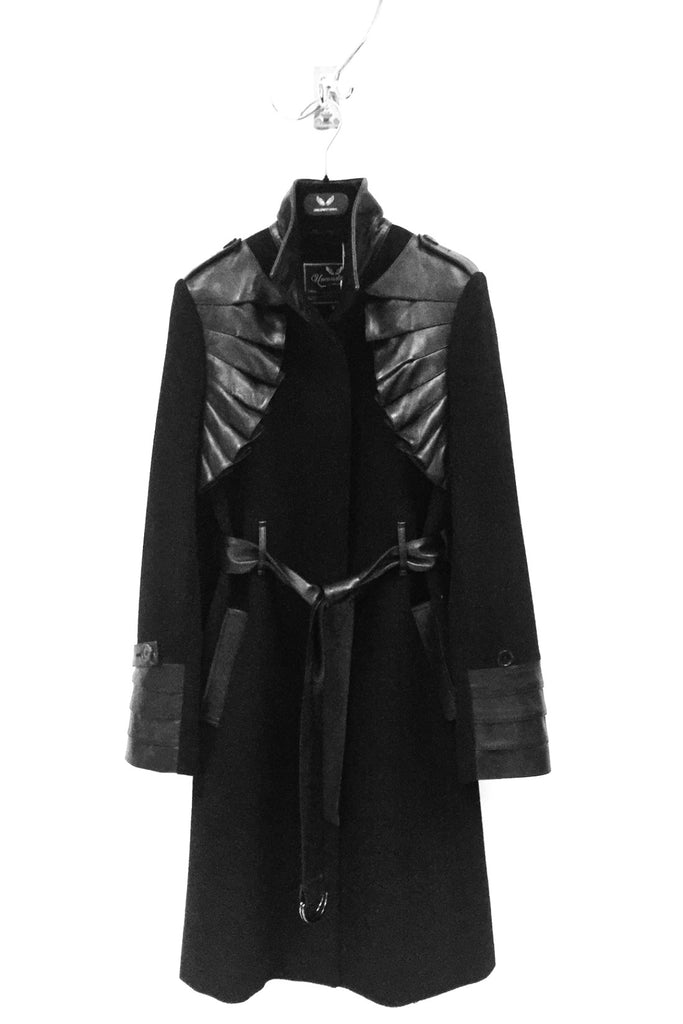 UNCONDITIONAL SS19 Black wool cashmere romantic military coat with pleated leather detailing