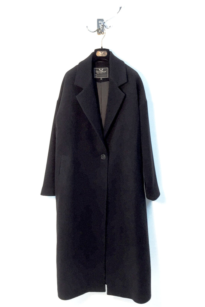 UNCONDITIONAL AW16 Black pure new wool 1 button oversized coat