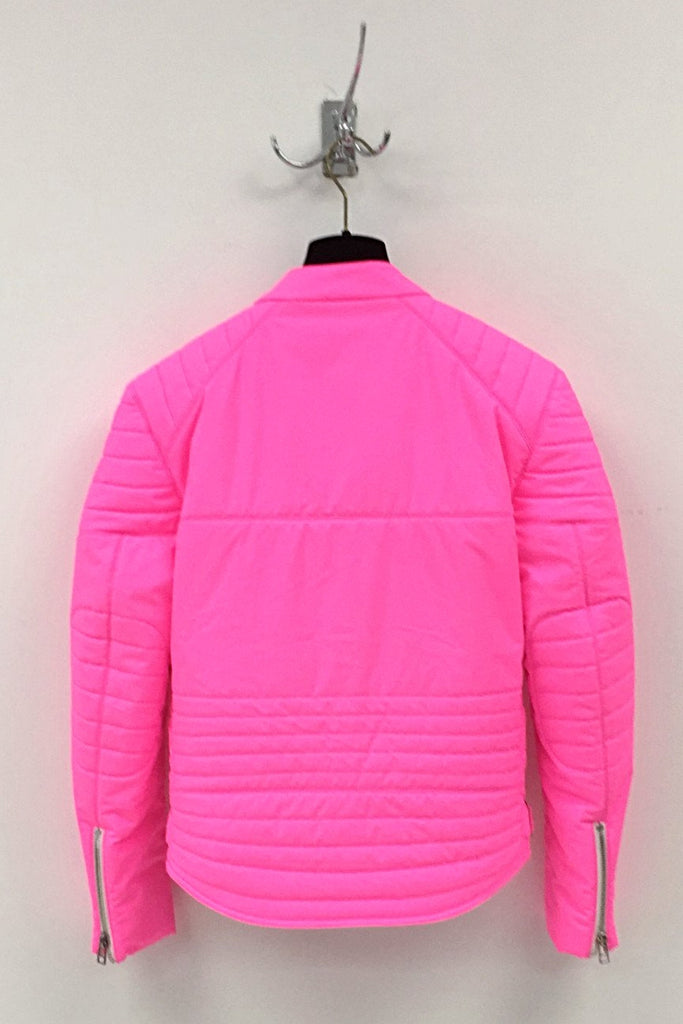 UNCONDITIONAL AW19 Neon Pink quilted mens biker jacket with contrast white zips