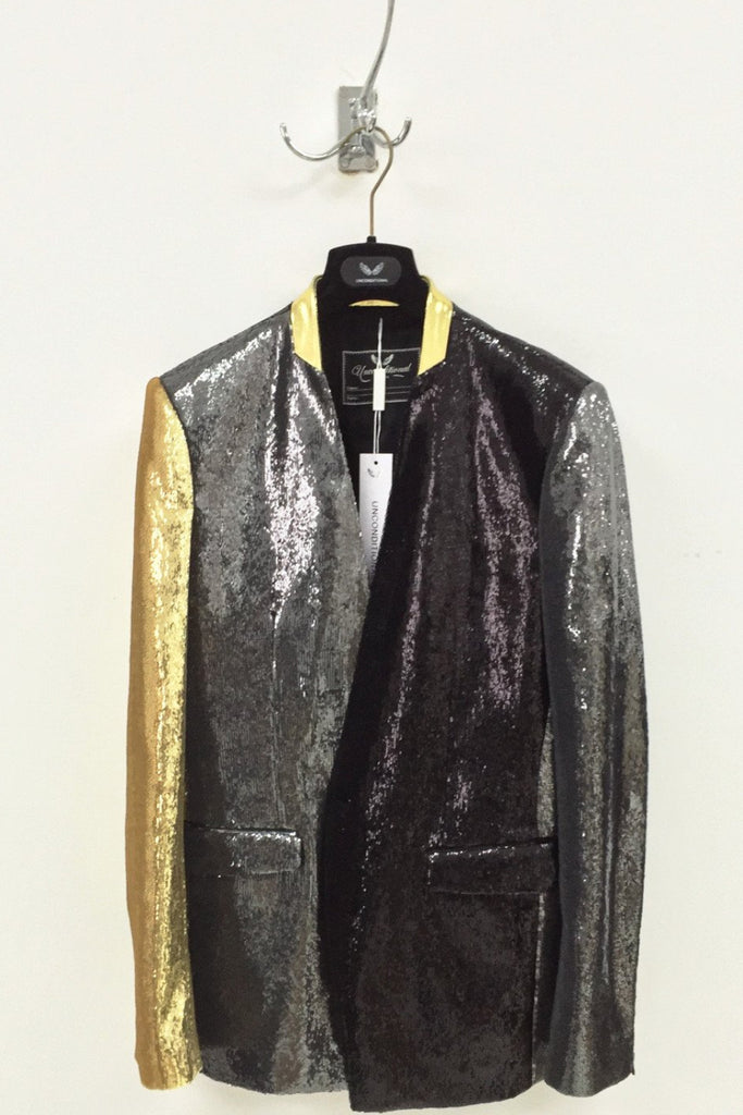 UNCONDITIONAL black | pewter | gold angled sequin jacket with gold patent leather collar. code : JK599