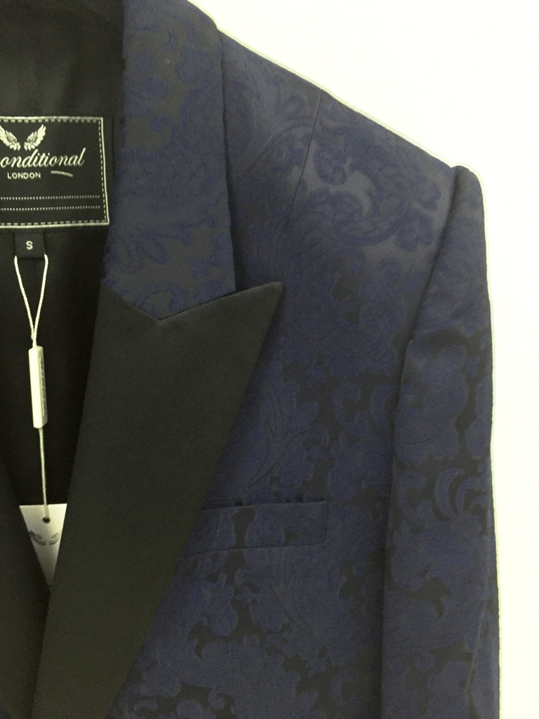 UNCONDITIONAL AW16 Navy Brocade 1 button Tuxedo jacket with silk reveres