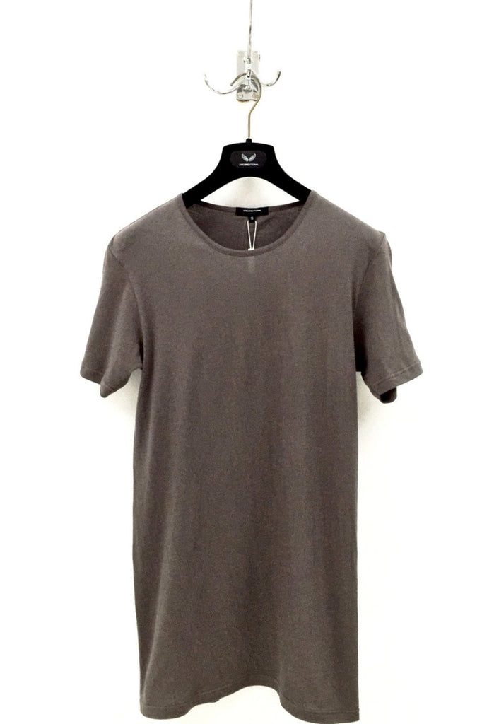 UNCONDITIONAL Mouse Grey signature slim fit crew neck T with external centre back seam.
