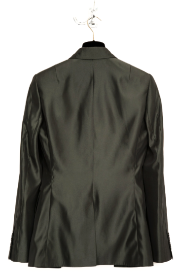 UNCONDITIONAL Shiny oil green tailored cutaway jacket