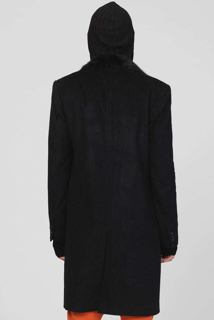 UNCONDITIONAL AW18 MINK COLLAR CASHMERE BLEND SINGLE BREASTED COAT