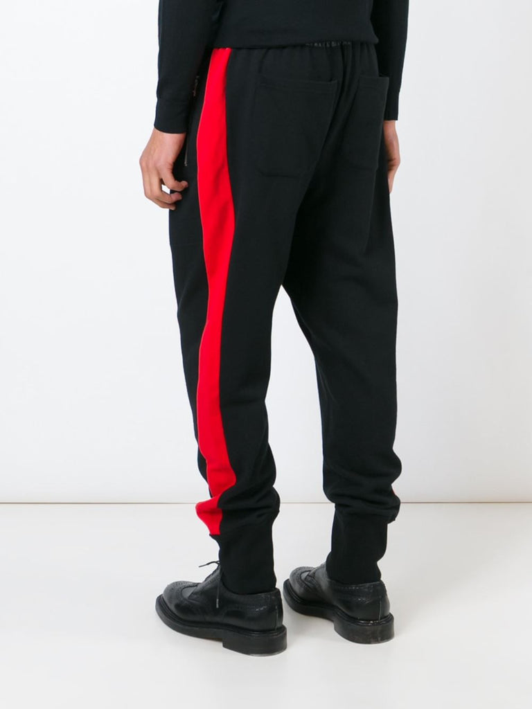 UNCONDITIONAL Black and dirty white slim fit contrast tuxedo stripe sweat shirting trousers.