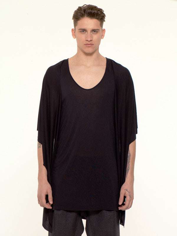 UNCONDITIONAL AW16 Signature black rayon hooded waistcoat cape vest.