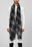 UNCONDITIONAL AW16 Long monotone black and off white blanket check scarf in matt silk